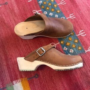 Shoes - Lotta Wooden and Leather Clogs